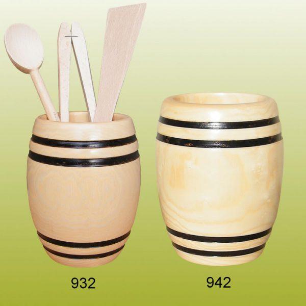 petit tonneau bois pour ustensiles cuisine